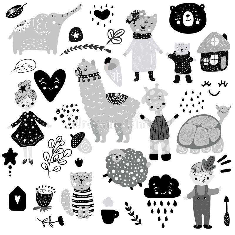 Skandinavisches Kindergekritzel-Elementmuster stellte Farbden affen wilder Tierhandgezogener Bär lamma Katze, Mädchen, Schildkröt vektor abbildung