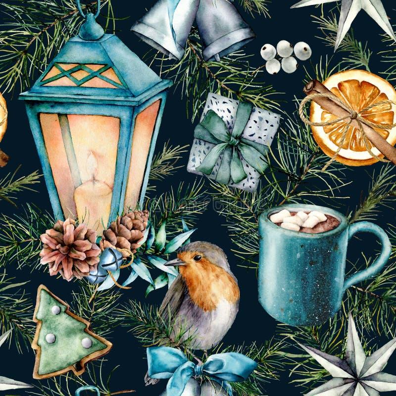 Skandinavisches Muster des Aquarells von Weihnachten Handgemalte Laterne, Glocken, Rotkehlchen, Plätzchen, orange Scheibe, Kakaos lizenzfreie abbildung