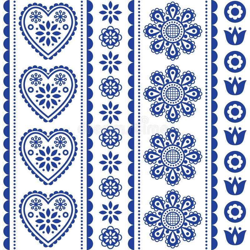 Skandinavisches nahtloses Volkskunstvektormuster mit Blumen und Herzen, nordisches Verzierungsdesign - lange Streifen stock abbildung