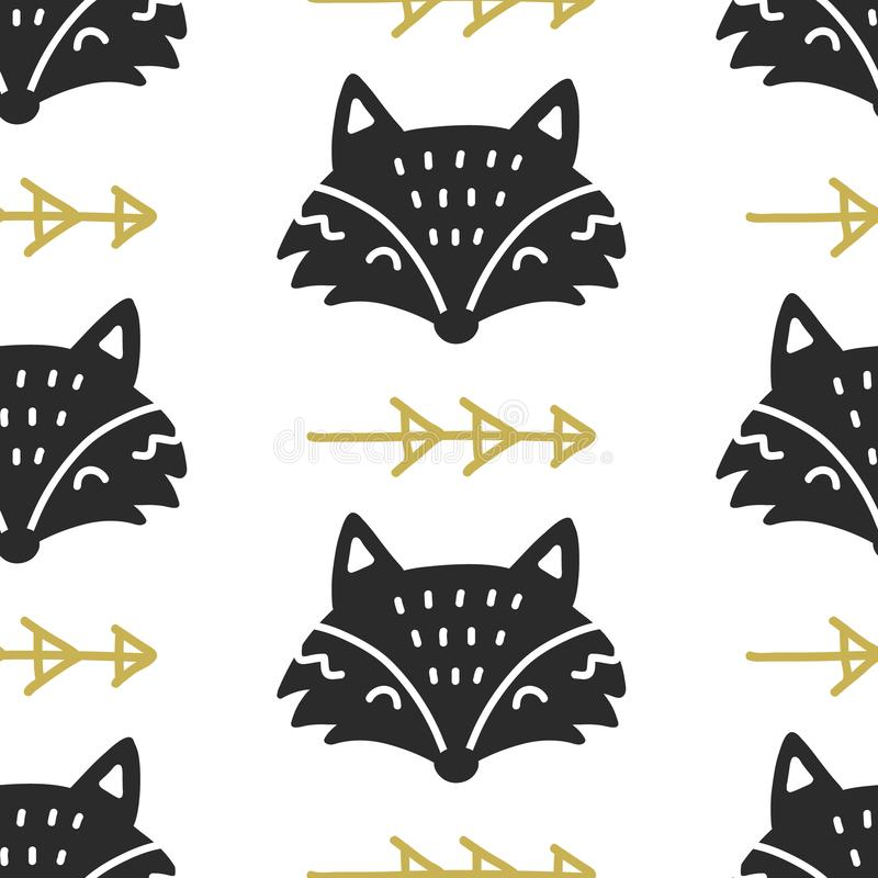 Skandinavisches nordisches nahtloses Muster Fox Hand gezeichneter modischer Volkskunstdekorationshintergrund vektor abbildung