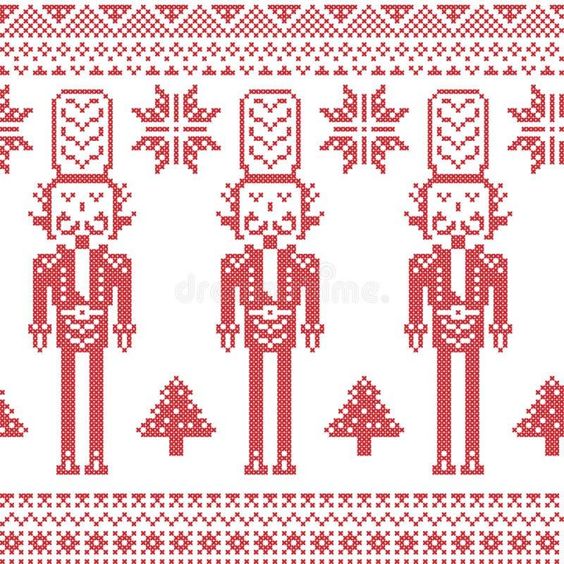 Skandinavisches nordisches Weihnachtsmuster mit Nussknackersoldaten, Weihnachtsbäume, Schneeflocken, Sterne, Schnee im Rot lizenzfreie abbildung