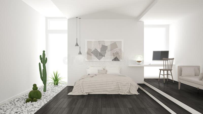 Skandinavisches unbedeutendes weißes und graues Schlafzimmer mit saftigem GA stockbild