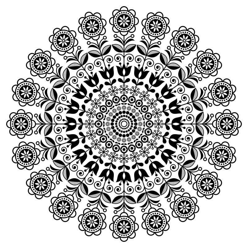 Skandinavisk folkkonstvektormandala med blommor, blom- rund prydnad, nordisk design med blommor i cirkeln, etnisk sammansättning stock illustrationer