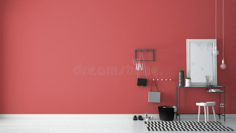 Skandinavisk ingångslobbykorridor med tabellen, stolen, matta och M royaltyfria bilder