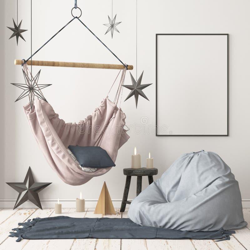 Skandinavisk inre julfängelsekund-stil för inre modell med en hängande stol arkivfoton
