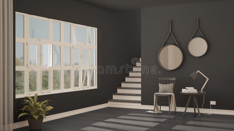 Skandinavisk minimalistic lobby, ingång, hall, modernt inter- arkivbild