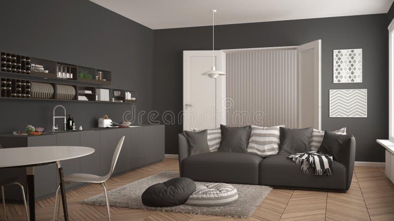 Skandinavisk modern vardagsrum med kök som äter middag tabellen, soffa och filt med kuddar, minimalist vit och grå färgarkitektur royaltyfri illustrationer