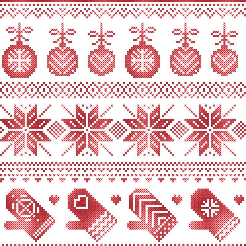 Skandinavisk nordisk sömlös julmodell med Xmas-struntsaker, handskar, stjärnor, snöflingor, Xmas-prydnader, snöbeståndsdel, hjärt royaltyfri illustrationer