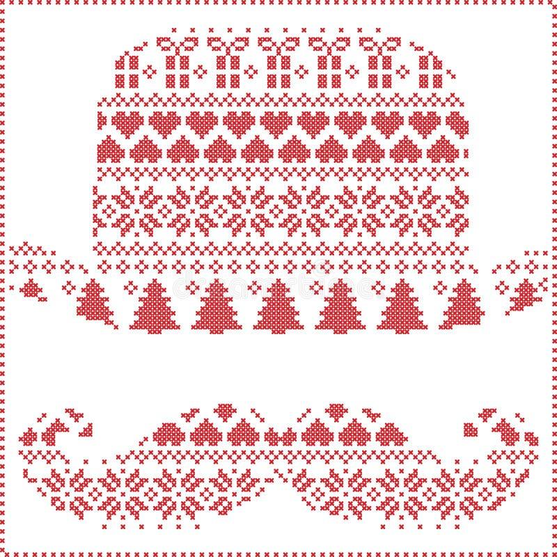 Skandinavisk nordisk vinter som syr handarbetejulmodellen i hipstermustasch- & hattform inklusive snöflingor, hjärtor, stock illustrationer