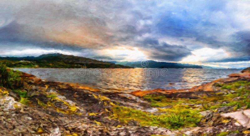 Skandinavisk nordlig natur - stenig jordning, grön mossa arkivbild