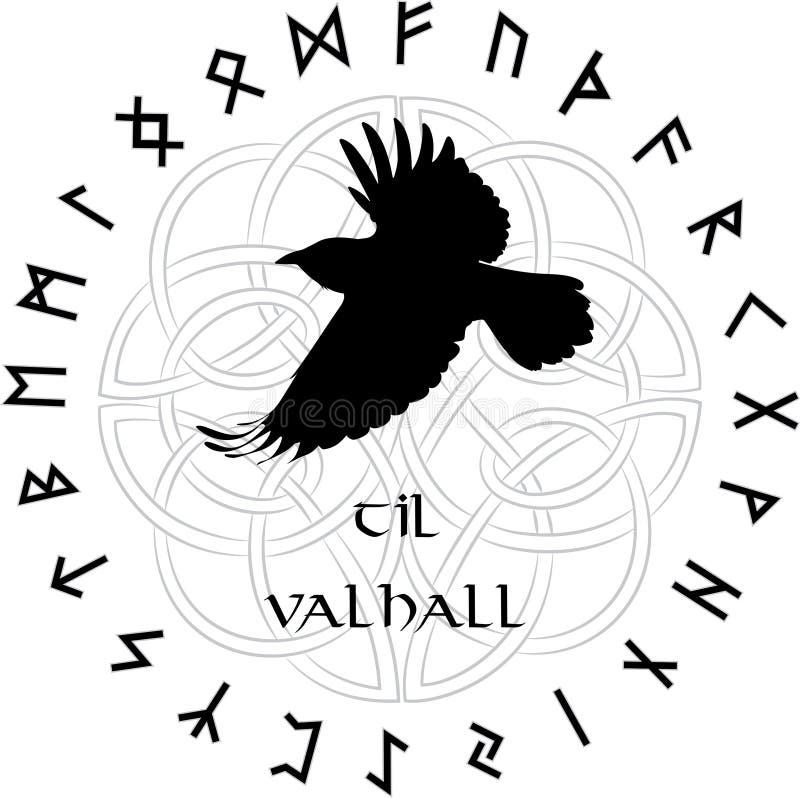 Skandinavisk prydnad i cirkeln av magiska Norserunor och ett korpsvart flyg royaltyfri illustrationer