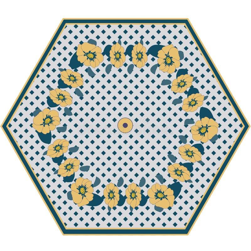 Skandinavisk stil: Gullig paraplymodell i moderiktiga f?rger p? den vita marinen in i en burbakgrund Krans fr?n kr?m- blommor vek vektor illustrationer