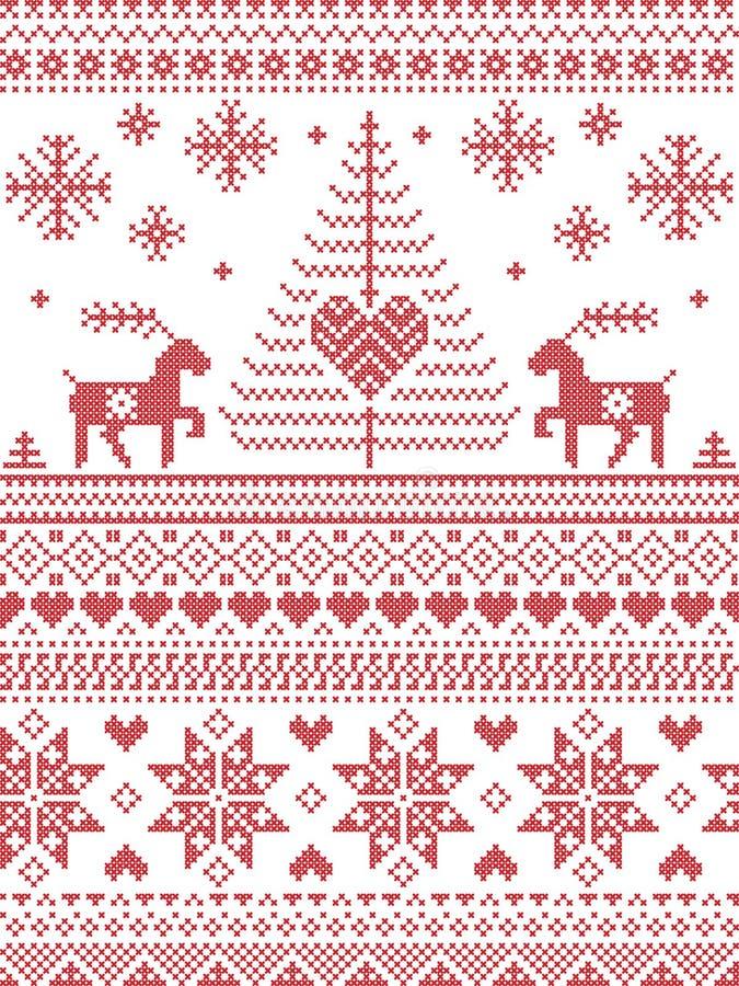 Skandinavisk stil och nordisk kultur inspirerad jul och den sömlösa modellen för festlig vinter i arg häftklammer utformar med Xm vektor illustrationer