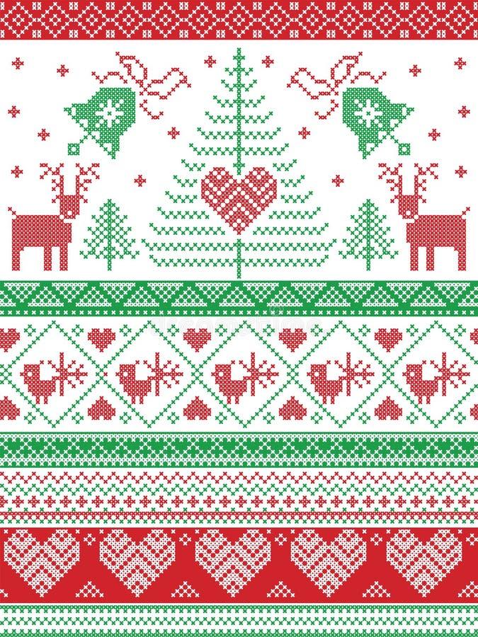 Skandinavisk stil och nordisk kultur inspirerad jul, sömlös modell för festlig vinter i arg häftklammerstil med klockor, träd stock illustrationer