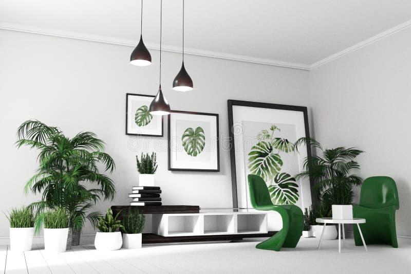 Skandinavisk vardagsruminre - hyra rum modern tropisk stil med sammansättning - minsta design framf?rande 3d stock illustrationer