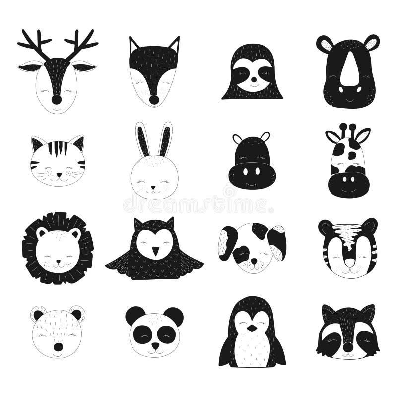 Skandinavisk vektorbarnillustration Hand-drog gulliga svarta djur för behandla som ett barn Hjortar räv, sengångare, noshörning,  royaltyfri illustrationer