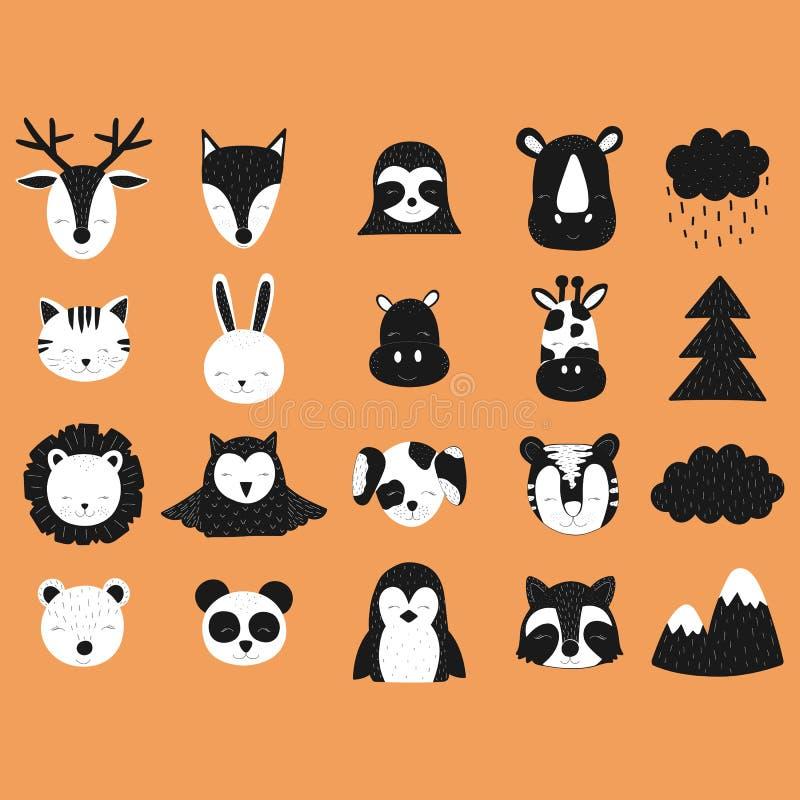 Skandinavisk vektorillustration för ungar Hand-drog djur Hjortar räv, sengångare, noshörning, katt, hare, flodhäst, giraff, lio vektor illustrationer