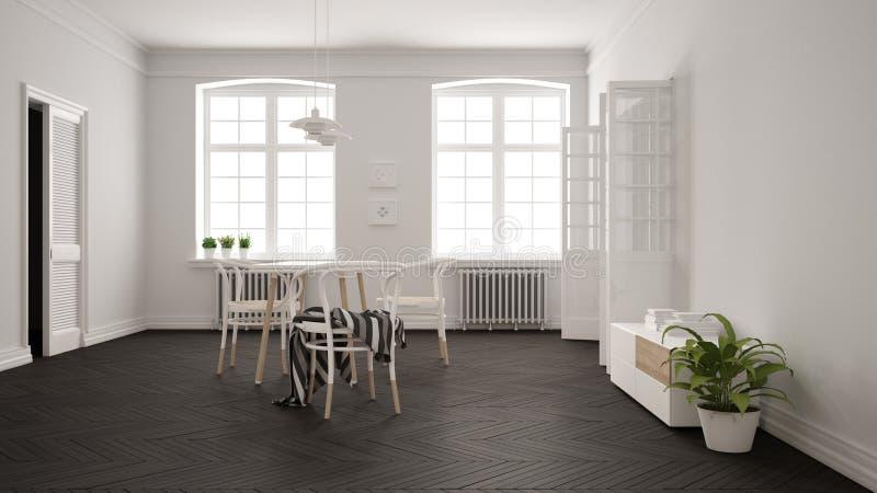 Skandinavisk vit och grå matsal, träfiskbensmönsterparkettgolv, tabell och stolar, fönster, dörr och element h?nge stock illustrationer