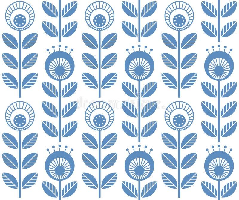 Skandinaviska folk stilblommor, sömlös vektormodell vektor illustrationer
