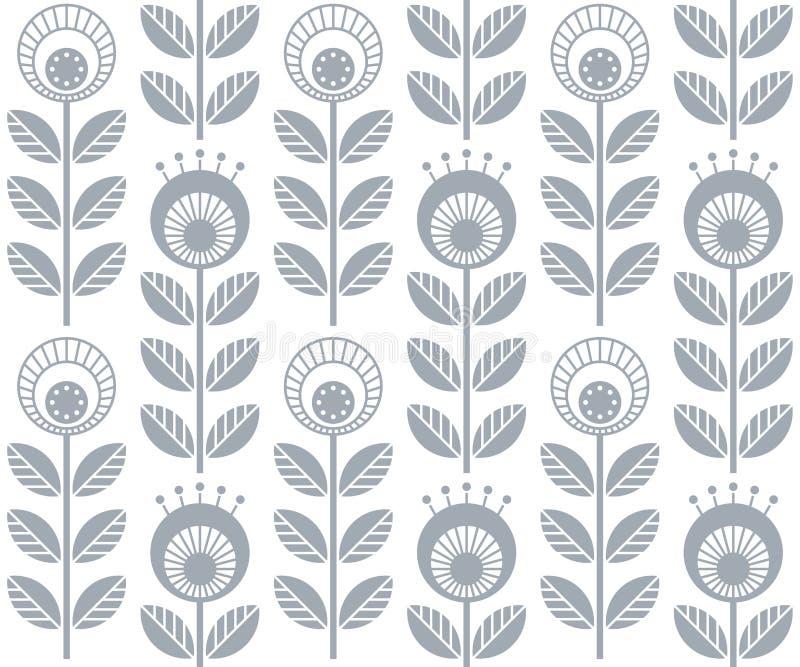 Skandinaviska folk stilblommor, sömlös vektormodell royaltyfri illustrationer