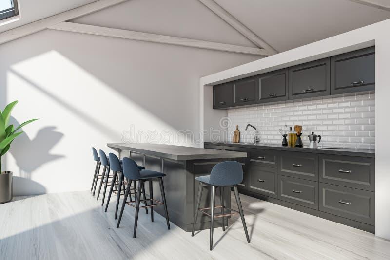 Skandinaviskt kökhörn för loft med stången stock illustrationer