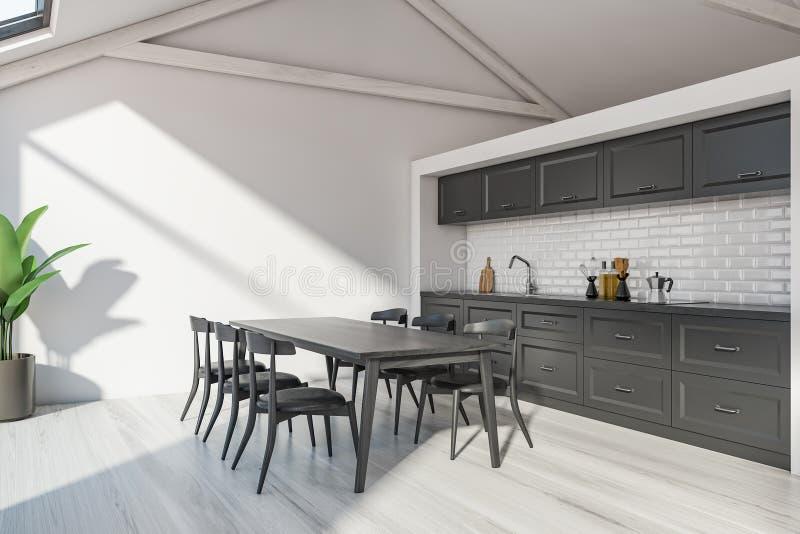 Skandinaviskt kökhörn för loft med tabellen royaltyfri illustrationer