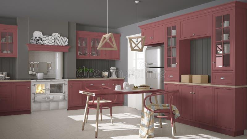 Skandinaviskt klassiskt kök med trä- och röda detaljer, minimi arkivbild
