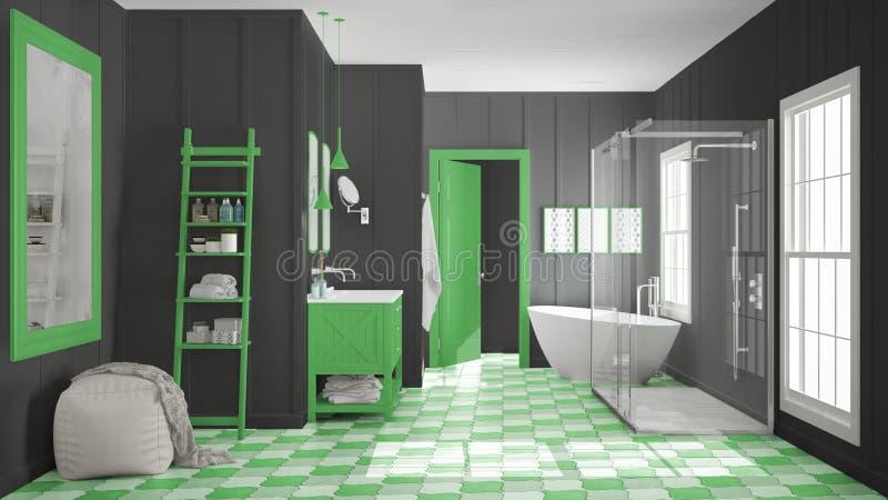 Skandinaviskt minimalist vit-, grå färg- och gräsplanbadrum, dusch, stock illustrationer