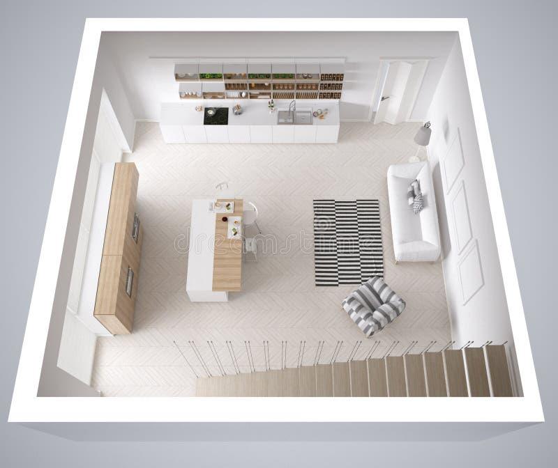 Skandinaviskt vitt kök, minimalistic inredesign, kors arkivfoton