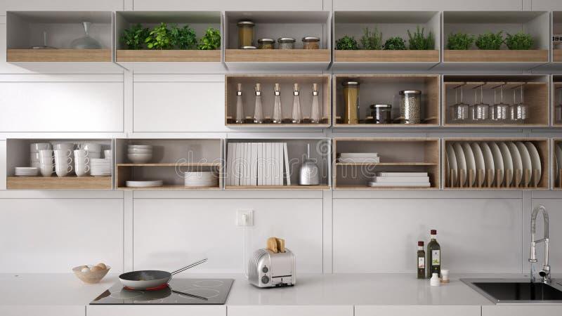 Skandinaviskt vitt kök som bordlägger systemet som är minimalistic royaltyfri foto