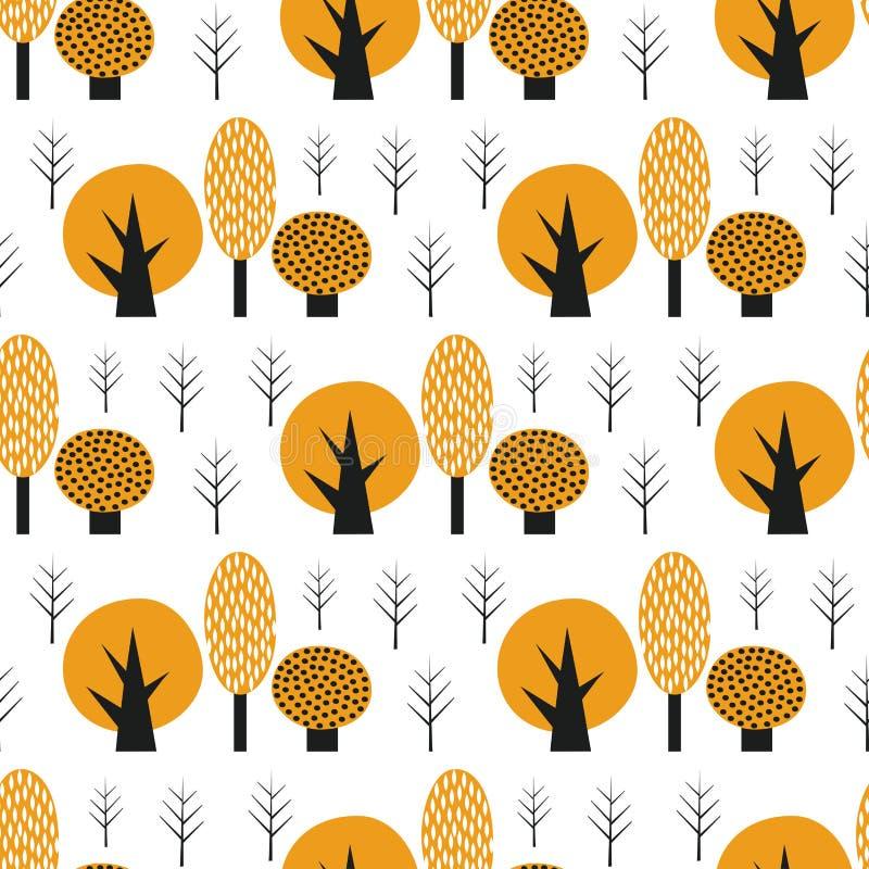 Skandynawów stylowych ślicznych drzew bezszwowy wzór ilustracji