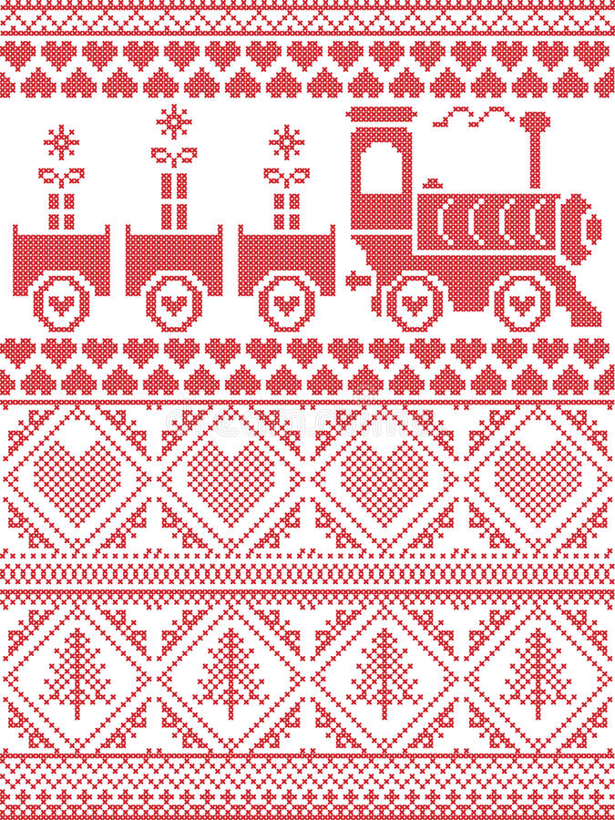 Skandynaw Drukujący tkanina styl i inspirujący Norweskimi bożymi narodzeniami i świątecznej zimy bezszwowym wzorem w przecinający royalty ilustracja
