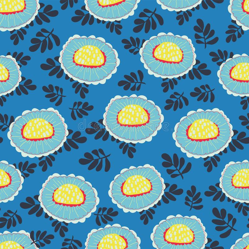 Skandynaw kwitnie bezszwowego wektorowego tło 1960s, 1970s retro kwiecisty projekt Kolor żółty i błękitny doodle rocznik kwitniem royalty ilustracja