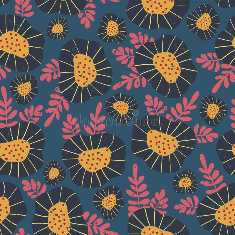 Skandynawa kwiatu stylowy retro tło wektor bezszwowy wzoru Błękit i kolor żółty kwitniemy z różowymi liśćmi na błękitnym tle, ilustracja wektor