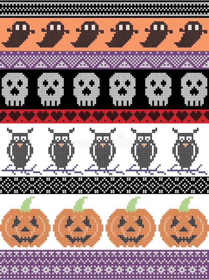 Skandynawa przecinający ścieg i tradycyjny Amerykański wakacyjny inspirowany bezszwowy Halloween wzór z sową, czaszka, serce, ban ilustracja wektor