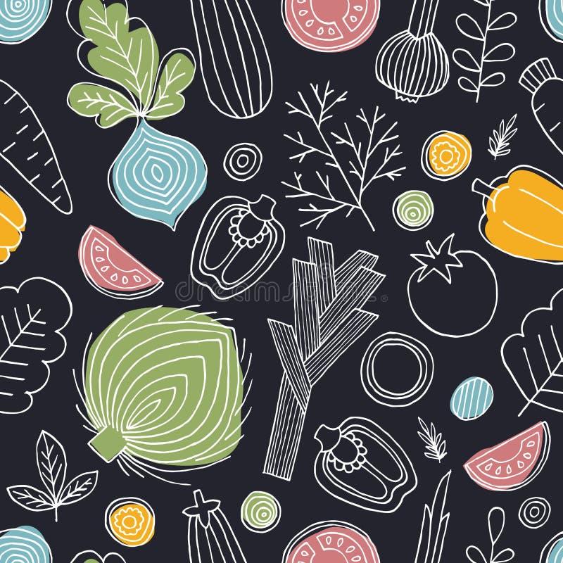 Skandynawa Stylowy Bezszwowy wzór Liniowa grafika Warzywa tło zdrowa żywność również zwrócić corel ilustracji wektora royalty ilustracja