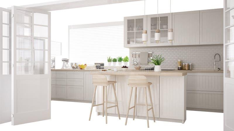 Skandynawska biała kuchnia z wyspą i akcesoriami, wewnętrznego projekta pojęcia pomysł, odizolowywający na białym tle z kopii prz ilustracji