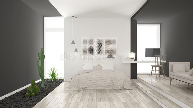 Skandynawska minimalistyczna biała i szara sypialnia z tłustoszowatymi dziąsłami zdjęcie royalty free