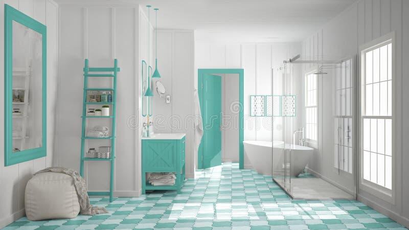 łazienka Turkus Ilustracji Ilustracja Złożonej Z Mozaika