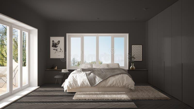 Skandynawska szara minimalistyczna sypialnia z panoramicznym okno, futerkowym dywanem, herringbone parkietowym i nowożytnym, arch ilustracji
