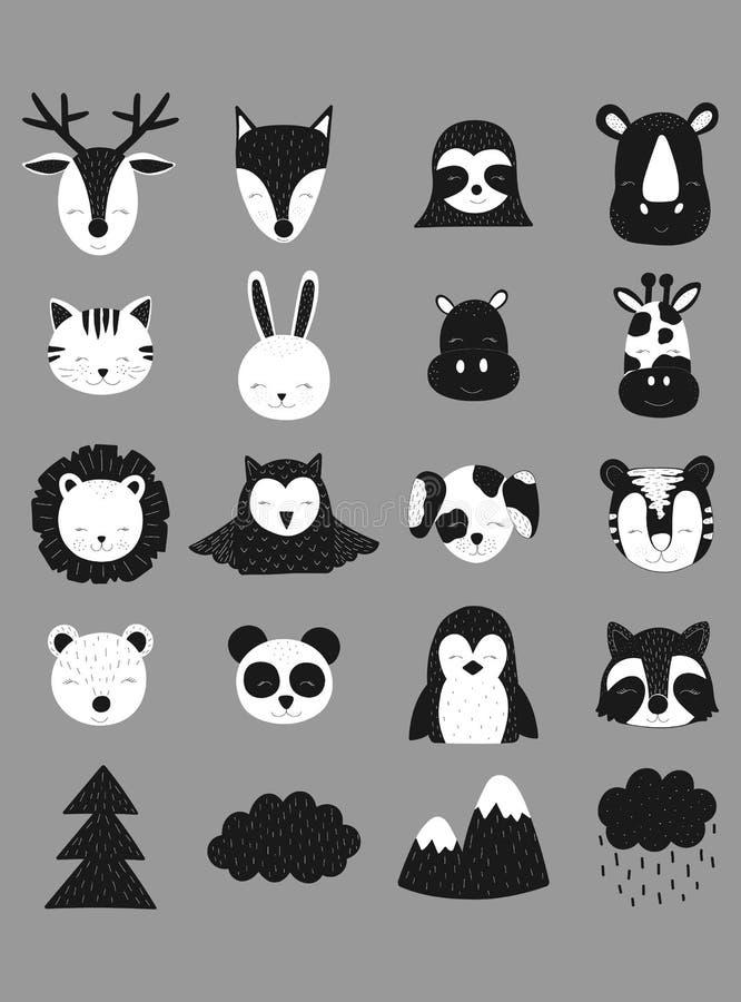 Skandynawska wektorowa ilustracja Pociągany ręcznie śliczni zwierzęta Rogacze, lis, opieszałość, nosorożec, kot, zając, hipopotam ilustracji