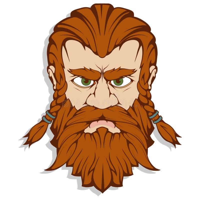 Skandynawski bóg grzmot i burza Ręka rysunek Thor ` s głowa Młot Thor - mjolnir Syn Odin Kreskówka brodata ilustracja wektor
