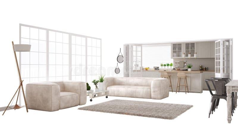 Skandynawski biały żywy pokój z kanapą i dużym okno, wewnętrznego projekta pojęcia pomysł, odizolowywający na białym tle z kopią ilustracji