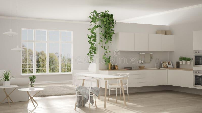 Skandynawski biały minimalistyczny utrzymanie z kuchnią, otwarta przestrzeń, o ilustracja wektor