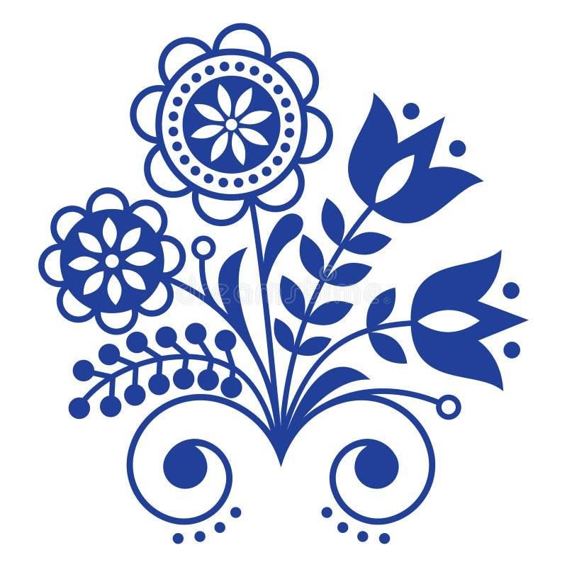 Skandynawski ludowej sztuki ornament z kwiatami, Północny kwiecisty projekt, retro tło w marynarki wojennej błękicie royalty ilustracja