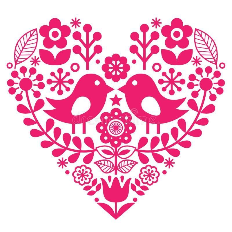 Skandynawski ludu wzór z ptakami i kwiatami walentynki ` s dzień lub urodzinowa karta - różowy projekt, Fiński inspirowany - ilustracji