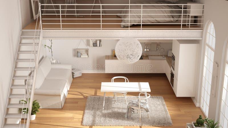 Skandynawski minimalistyczny loft, jednoizbowy mieszkanie z białym kitc royalty ilustracja