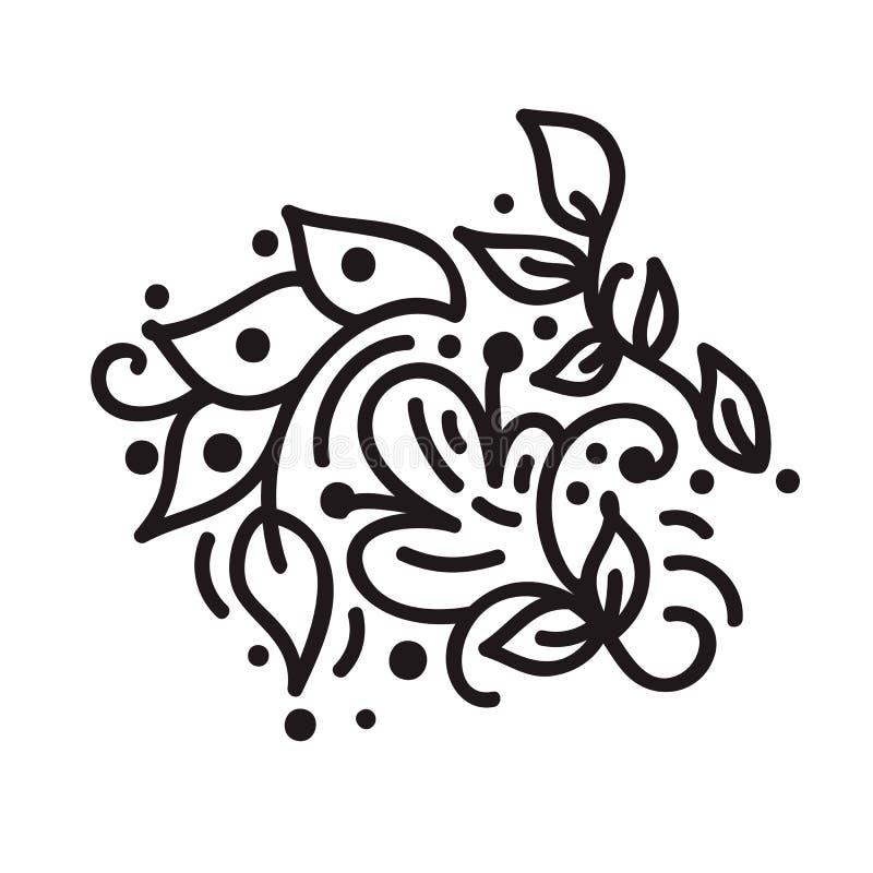 Skandynawski monoline zawijasa monograma wektor z liśćmi i kwiatami Roczników dividers dla walentynka dnia i kąty ilustracji