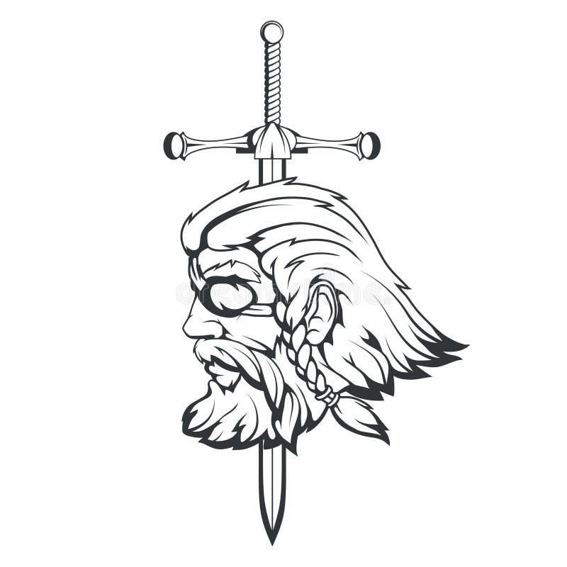 Skandynawski najwyższy bóg Nordycka mitologia - Odin Ręka rysunek Odin głowa Kreskówka mężczyzna brodaty charakter Bóg Odin, Wota royalty ilustracja
