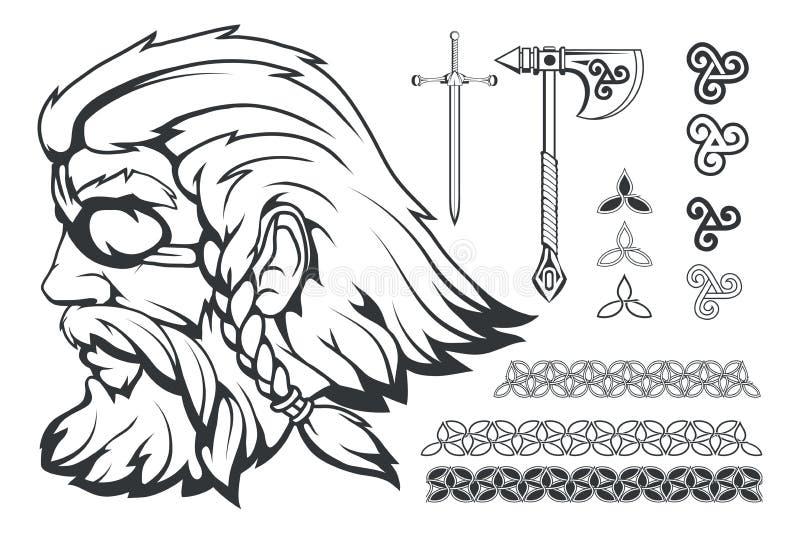 Skandynawski najwyższy bóg Nordycka mitologia - Odin Ręka rysunek Odin głowa Kreskówka mężczyzna brodaty charakter Bóg Odin, Wota ilustracji
